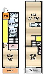 大阪府大阪市都島区内代町1丁目の賃貸アパートの間取り