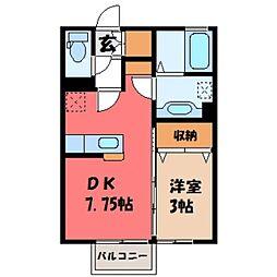 栃木県小山市粟宮2丁目の賃貸アパートの間取り