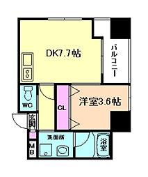大阪府大阪市北区東天満1丁目の賃貸マンションの間取り