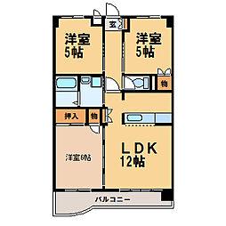 栃木県小山市本郷町2丁目の賃貸マンションの間取り