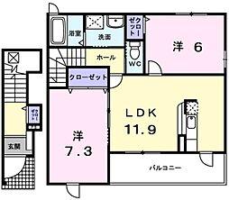愛知県みよし市福谷町根浦の賃貸アパートの間取り