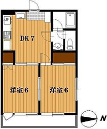 千葉県松戸市西馬橋4丁目の賃貸アパートの間取り