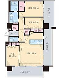 ザ・パークハウス中野タワー 18階3LDKの間取り