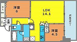 ワコーレ ザ・神戸トアロード 6階2LDKの間取り