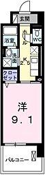 グラース 武蔵浦和 5階1Kの間取り