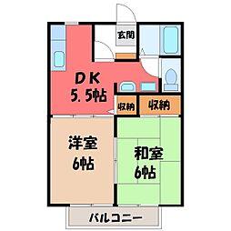 栃木県宇都宮市鶴田1丁目の賃貸アパートの間取り