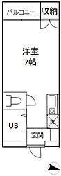 東京都文京区関口3丁目の賃貸マンションの間取り