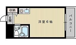 阪急千里線 吹田駅 徒歩5分の賃貸マンション 2階ワンルームの間取り