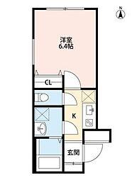 東急東横線 武蔵小杉駅 徒歩6分の賃貸マンション 3階1Kの間取り