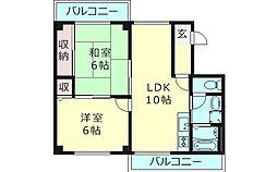 プルミエ野江内代A棟 4階2LDKの間取り