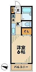 京王相模原線 京王多摩センター駅 徒歩4分の賃貸マンション 2階1Kの間取り