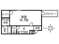 近鉄南大阪線 今川駅 徒歩5分の賃貸アパート 2階1Kの間取り