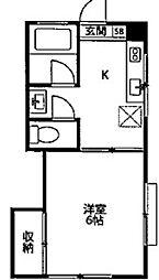 神奈川県川崎市宮前区神木1丁目の賃貸アパートの間取り