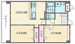 セントラルコート箱崎[703号室]の間取り