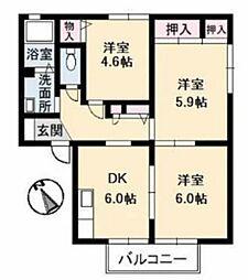 岡山県倉敷市神田3の賃貸アパートの間取り