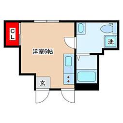 JR中央線 立川駅 徒歩13分の賃貸アパート 1階ワンルームの間取り