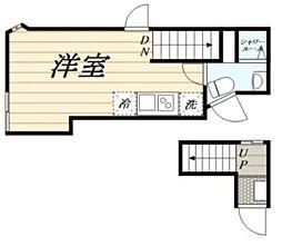 (仮)高松2丁目新築計画 2階ワンルームの間取り