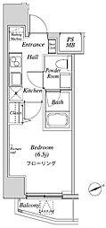 ニューガイアリルーム芝No.28 3階1Kの間取り