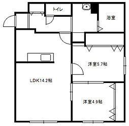 北海道札幌市豊平区月寒西三条6丁目の賃貸マンションの間取り