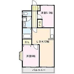 福岡県久留米市東合川新町の賃貸アパートの間取り