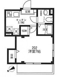 東京メトロ丸ノ内線 後楽園駅 徒歩13分の賃貸マンション 2階1Kの間取り