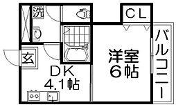 シャルマン香里[1階]の間取り