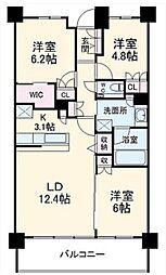 グランカーサ北浦和 地下5階3LDKの間取り