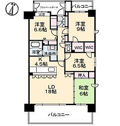 ポレスターブロードシティ倉敷[13階]の間取り
