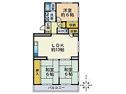 寺塚ニューハイツ[201号室]の間取り