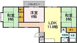 グリーンハウス・クスノキ 3階3LDKの間取り