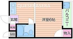 大阪モノレール彩都線 彩都西駅 徒歩21分の賃貸マンション 3階ワンルームの間取り