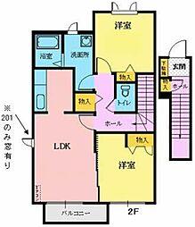 シャーメゾン八幡 2階2LDKの間取り
