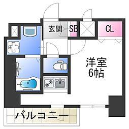 スプランディッド難波元町DUE 3階ワンルームの間取り
