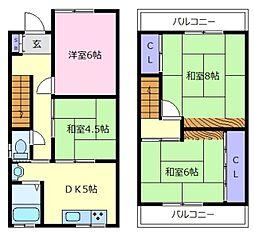 [一戸建] 大阪府松原市上田4丁目 の賃貸【/】の間取り