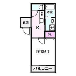 フジパレス今福西I番館 2階1Kの間取り