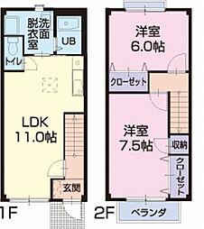 愛知県刈谷市高松町5丁目の賃貸アパートの間取り