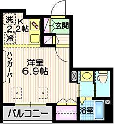 東急目黒線 不動前駅 徒歩7分の賃貸マンション 2階1Kの間取り