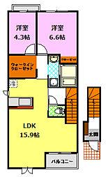 茨城県下妻市下妻乙の賃貸アパートの間取り
