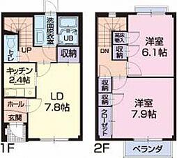静岡県浜松市浜北区染地台4丁目の賃貸アパートの間取り