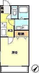 辰巳ハウス[203号室]の間取り