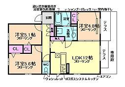 大阪府池田市畑4丁目の賃貸アパートの間取り