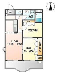 愛知県豊橋市上野町字上野の賃貸アパートの間取り