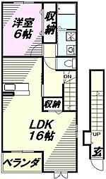 埼玉県所沢市堀之内の賃貸アパートの間取り
