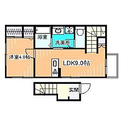 南海高野線 北野田駅 徒歩11分の賃貸アパート 2階1LDKの間取り