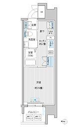 JR南武線 武蔵新城駅 徒歩6分の賃貸マンション 6階1Kの間取り