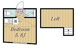 ユナイト中野島ジャンレノ 2階ワンルームの間取り