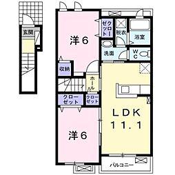 JR御殿場線 御殿場駅 バス30分 須走浅間神社前下車 徒歩4分の賃貸アパート 2階2LDKの間取り
