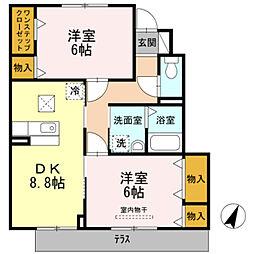 愛知県豊橋市牟呂町字古幡焼の賃貸アパートの間取り