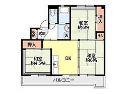 ビレッジハウス三島1号棟 1階3DKの間取り