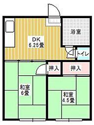 コーポ古賀[201号室]の間取り